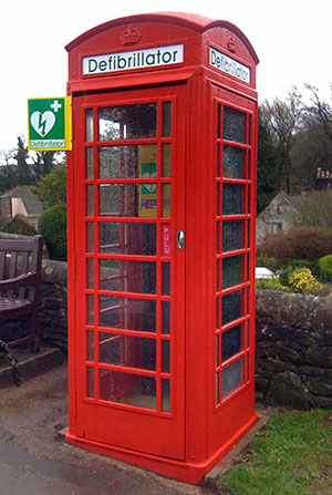 Alport Defibrillator in old telephone box