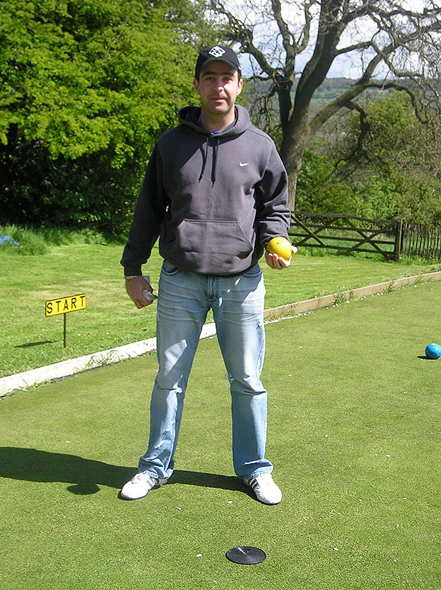 Bowls Club Richard Partridge preparing for a competition